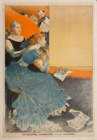 Turn of the Century poster of two women watching a play from a theater balcony.