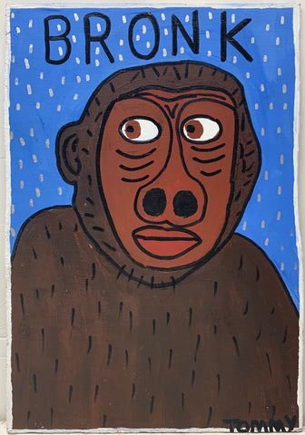 A Tommy Cheng painting of a monkey on a blue background.