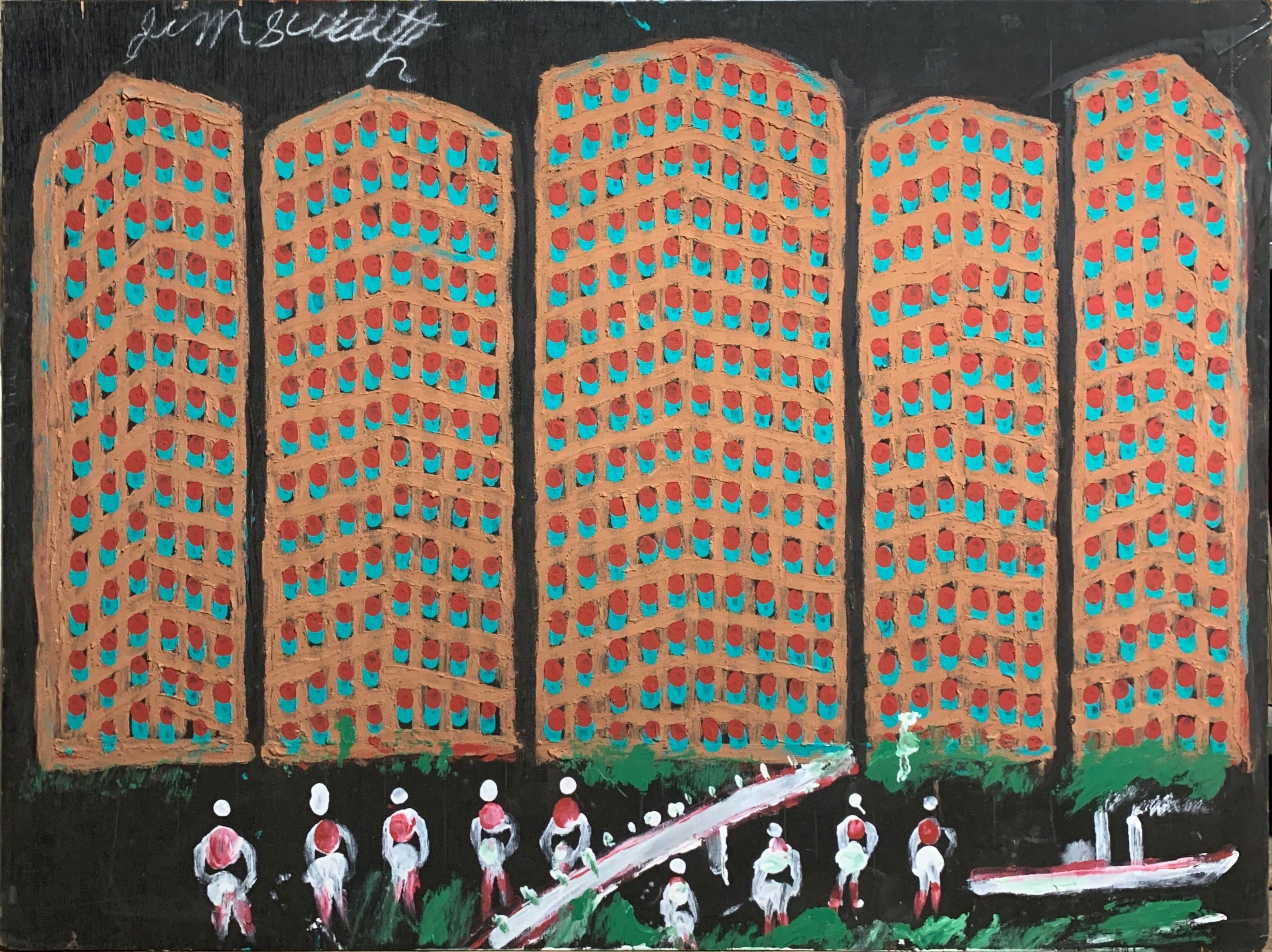 Waterfront Apartments #30, Jimmie Lee Sudduth Painting