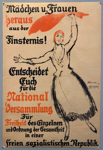 Poster shows a woman in a dress waving a red piece of cloth over her head. Text on the right side in Fraktur typeface.