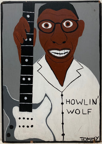Tommy Cheng portrait of Howlin' Wolf with his gray electric guitar.