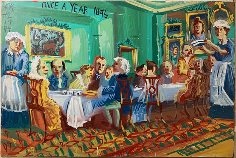 A Steve Keene painting of a 19th Century dining room with servants carrying food and men and women seated at tables.