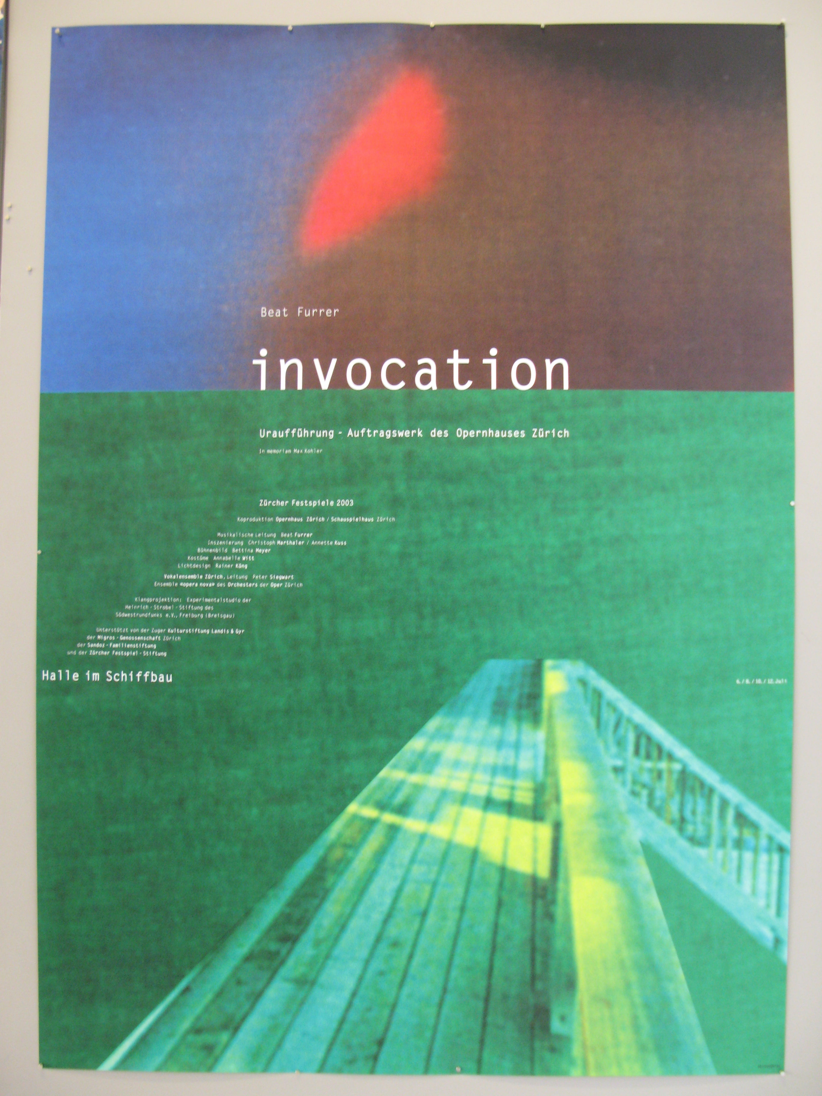 Beat Furrer Invocation Swiss Poster