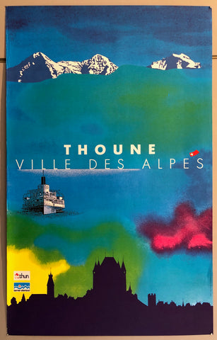 Poster of a colorful sky and water above a silhouette of a Swiss town and below a mountain range.