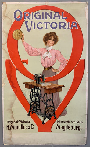 Poster shows a woman in a pink blouse holding up a badge behind a Victoria sewing machine.