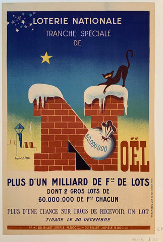 "Loterie Nationale: ""Snowy Bricks with Cat"" - Poster Museum"
