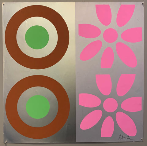A square of four large motifs on paper. The colors are brown, green, pink, silver, and grey.
