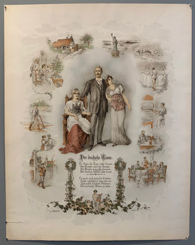 Poster shows a man with each arm around a woman, surrounding them are different scenes showing the man doing things.
