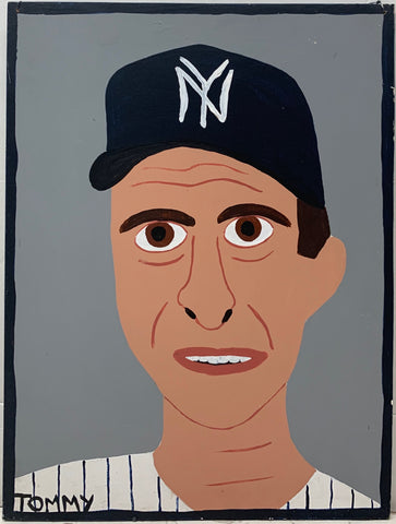 A Tommy Cheng portrait of Joe Torre in a New York Yankees baseball hat and uniform.