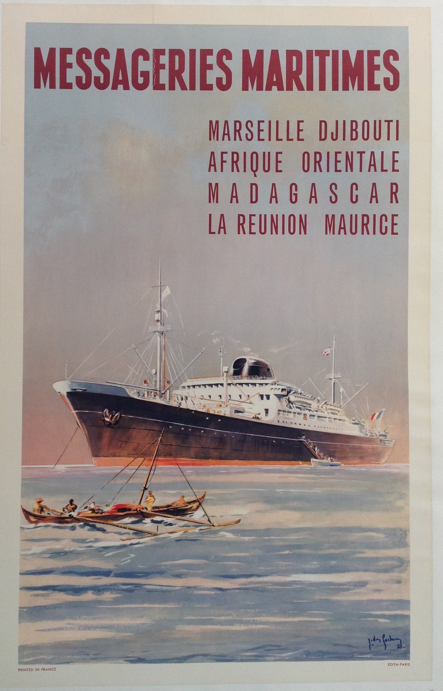 FRANCE VINTAGE TRAVEL POSTER Messageries Maritimes NEW