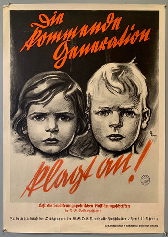 Poster shows two concerned children with old german font on the top and bottom of the image.