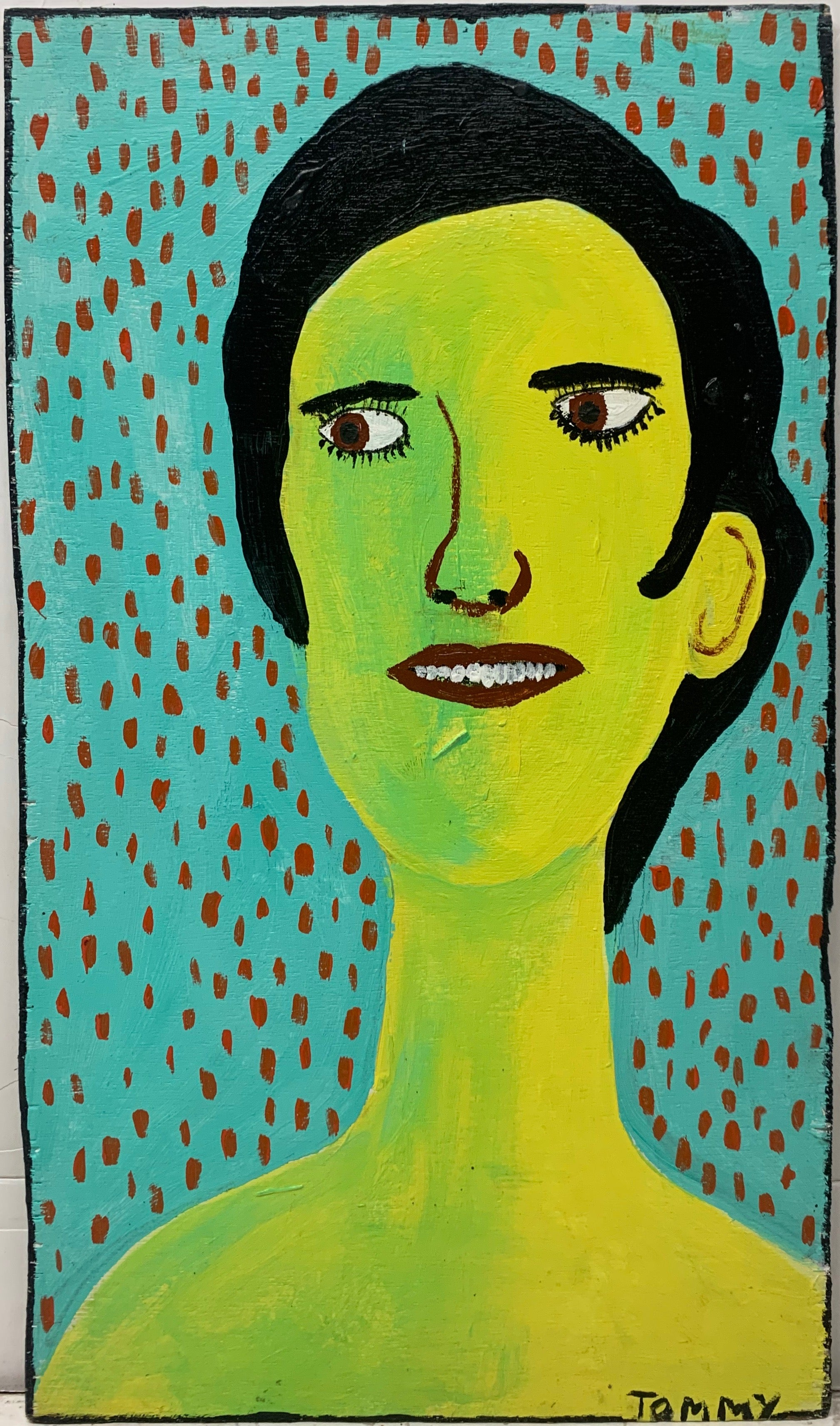 A Tommy Cheng portrait of a woman with lime green skin biting her lip.