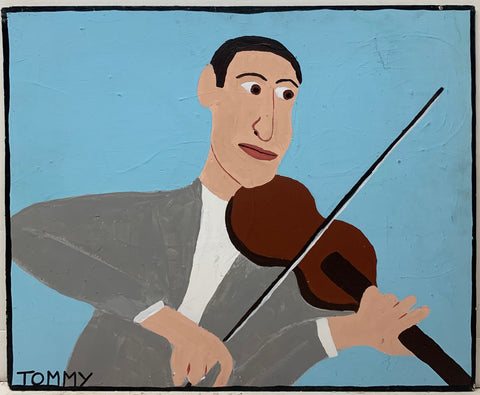 A Tommy Cheng portrait of a Jascha Heifetz playing the violin in a gray suit in front of a blue background.