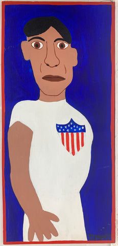 A Tommy Cheng portrait of Jim Thorpe in a sports uniform.