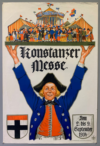 Poster advertising the Konstanz fair in September 1934. The same poster styler is still used today to advertise the fair. Poster shows a man holding up a fair on a platter above his head.