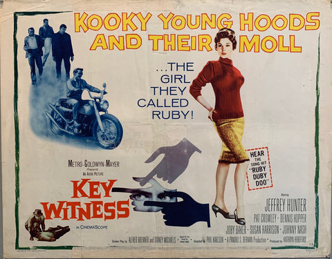 "movie poster ""kooky"" woman in red and yellow, men in background, man on motorcycle, hands pointing"