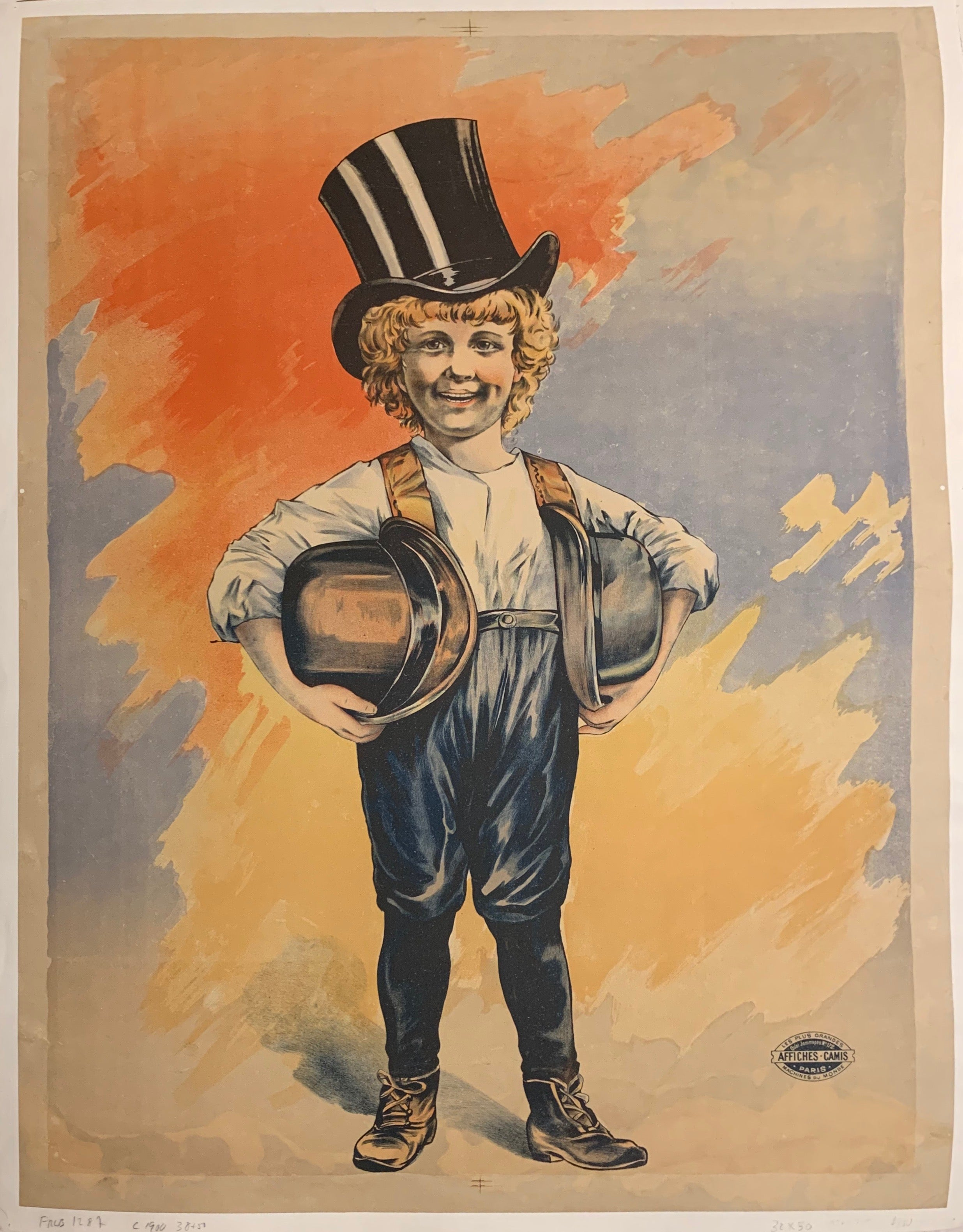 Turn of the Century poster of a young boy carrying two  hats under his arms and wearing one black top hat on his head.