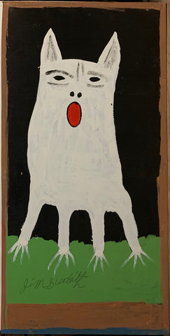 A painting of a white, howling dog.