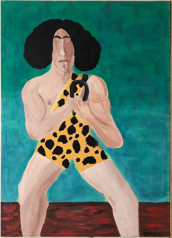 Portrait of Joe Greenstein, The Mighty Atom, in a leopard bodysuit bending a metal bar with his hands.