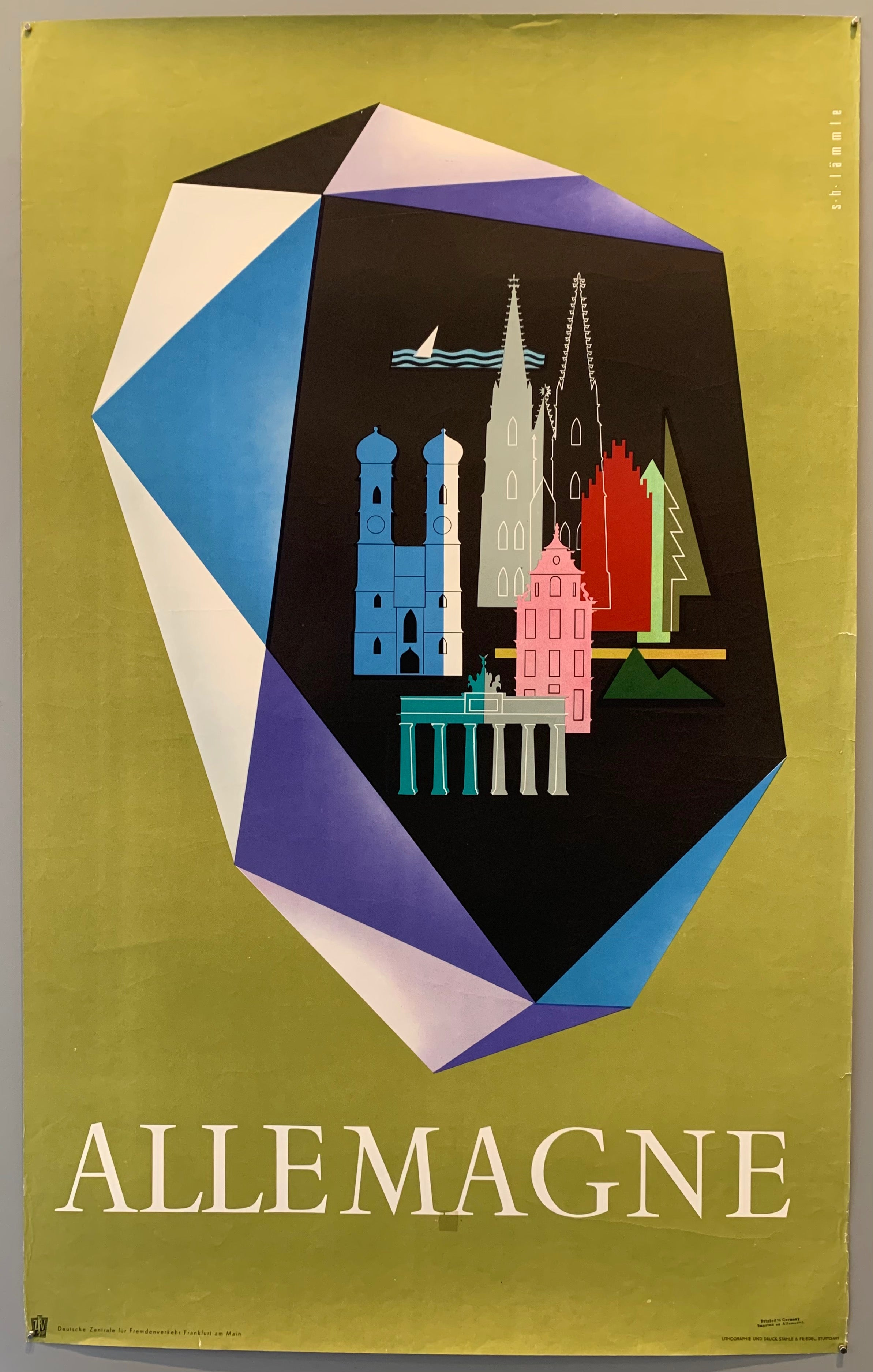 Lithograph printed poster of various silhouetted German landmarks, beautiful color tones on olive green background