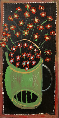 A painting of red flowers in a green vase.