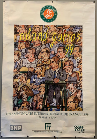 Poster for the 1999 French Open, showing a cartoon illustration of the crowd