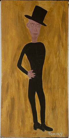 A Tommy Cheng portrait of Percy Pape in a black jumpsuit and black top hat against a golden background.