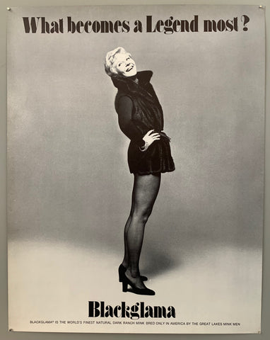 A woman in a mink vest and tights looks goofily behind her. The text is on the top and the bottom in black.