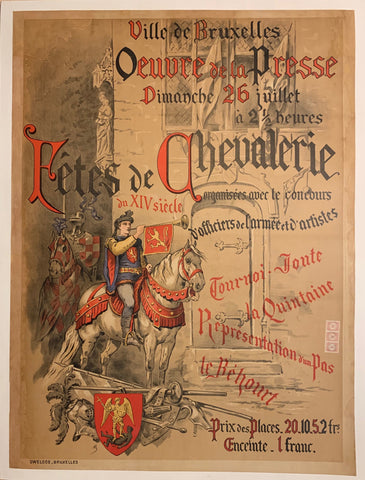 Turn of the Century poster of knights on horseback.
