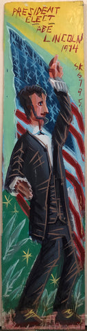 A Steve Keene painting of a joyful Abe Lincoln, standing in front of the American flag in a grassy field.