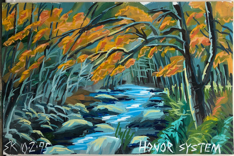 A Steve Keene painting of a river with a stony river bed in a forest in fall.