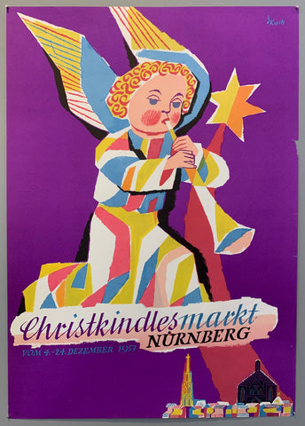 Poster for the Nuremberg christmas market in December. Pictures is an angel playing an instrument above Nuremberg. Angel is multi-colored over a purple background.