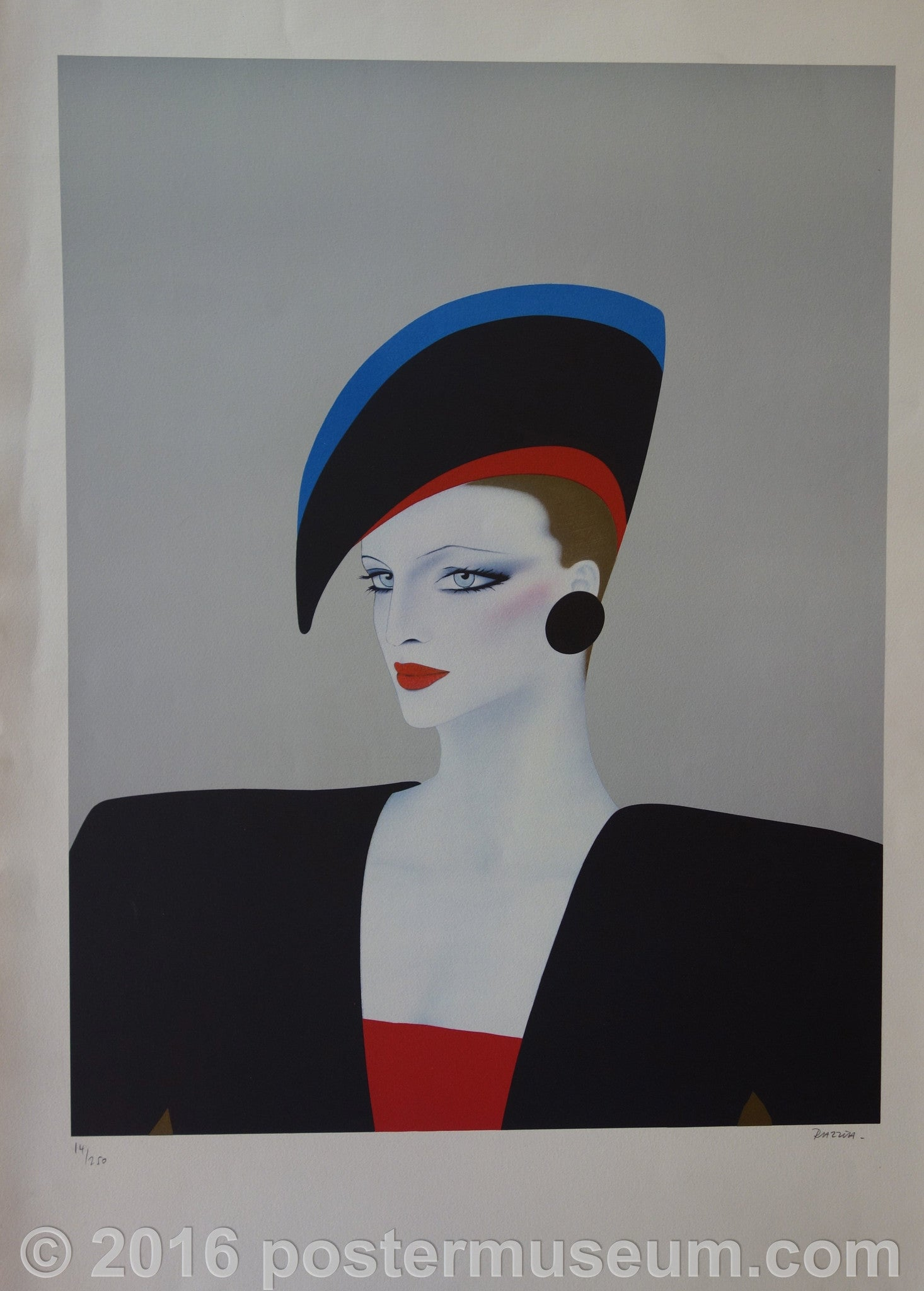 Woman with Red, Blue and Black Hat