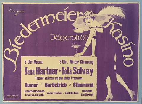 Poster for a casino in Berlin with humor, bar service, good mood, good kitchen and free entry. Poster is deep purple with a girl in a flapper dress and a cocktail in hand leaning over the general text box.