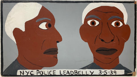 A Tommy Cheng painting of Lead Belly's mugshot