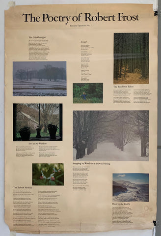 Poster featuring seven poems by Robert Frost, all accompanied by a nature photo