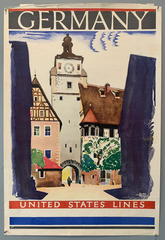Travel poster printed in the US advertising Germany. Poster shows a town setting with German architecture.