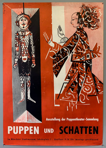 Poster for an exhibit showing at the Muenchner Stadtmuseum in Munich. Exhibit is a puppet exhibit from the puppet theater collection. Poster shows two puppets in red costumes over a red background.