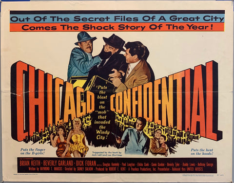 two men grab a man in a black hat, covering his mouth. man with gun. chicago confidential movie poster