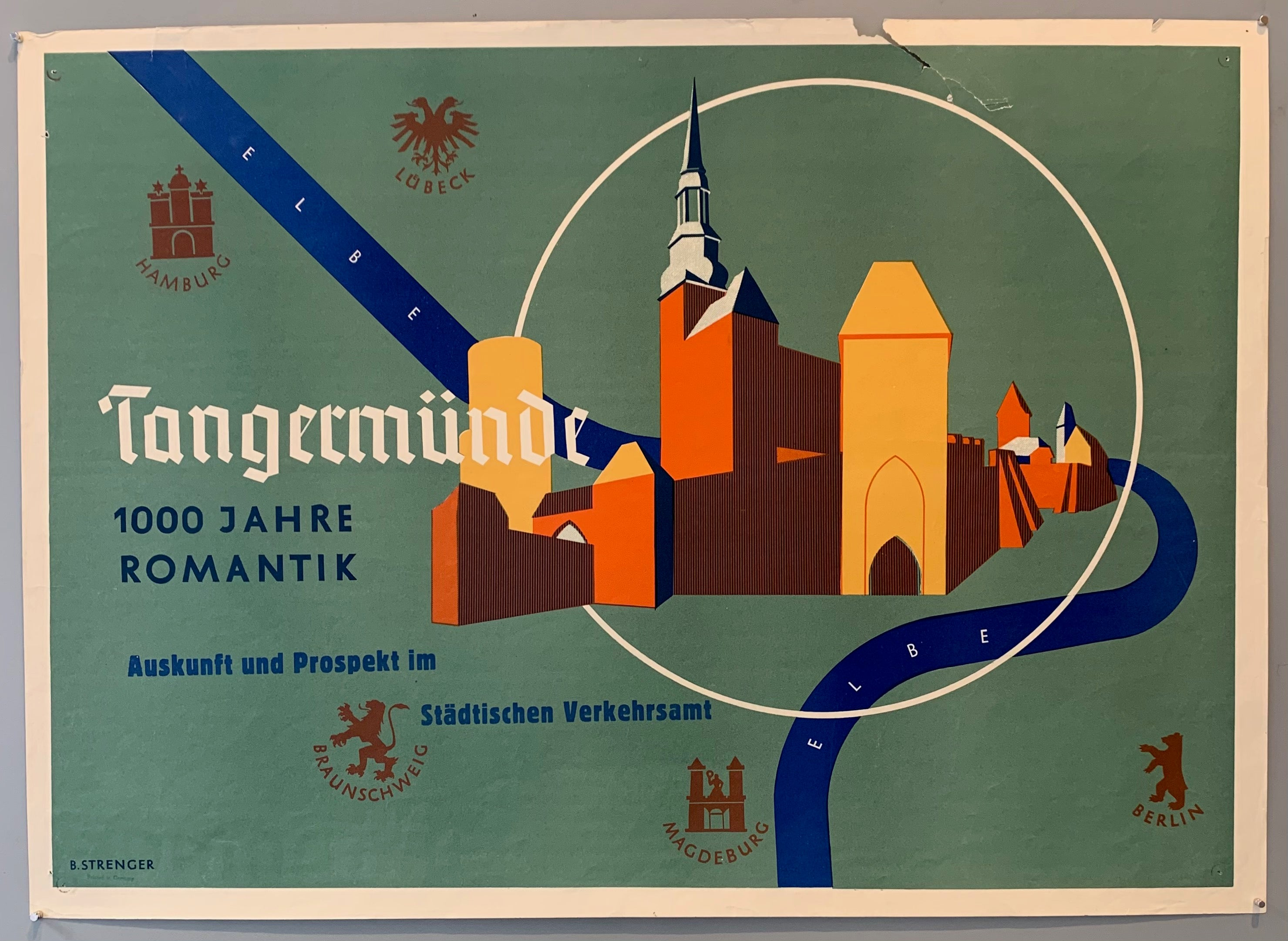 Poster for a small town in Germany called Tangermünde, which is a historic town on the Elbe river. Graphic shows landmarks from the town with the Elbe running through the buildings. Crests from Berlin, Magdeburg, Braunschweig, Hamburg, and Lubeck are scattered in the background.