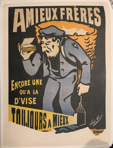 Turn of the Century poster of an old man in a blue outfit holding a lantern in one hand and a container of canned sardines in the other.