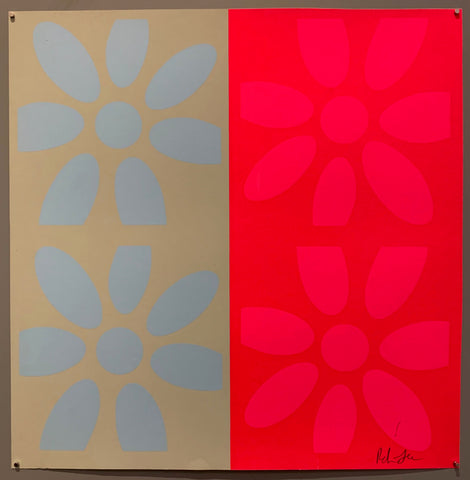 A square of four large motifs on paper. The colors are light tan with light blue flowers, the other is red with hot pink flowers.