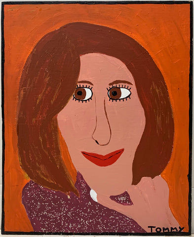 A Tommy Cheng portrait of a woman with a brown bob, smiling, wearing a sparkly purple turtleneck.