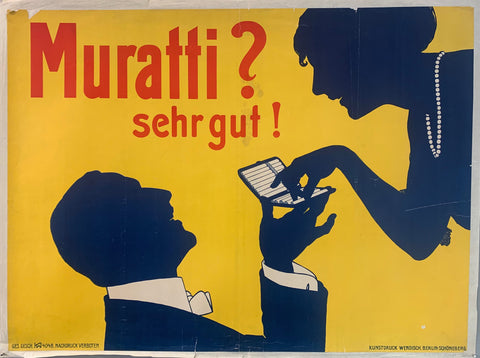 German cigarette ad for Muratti cigarettes. A silhouetted woman is shown smiling taking a cigarette from a man below her. Just the pearl necklace and the suite collar on the man are shown through the silhouette.