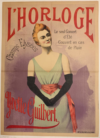 Turn of the Century poster of a blonde woman, Yvette Guilbert, in a blue dress and wearing black gloves.