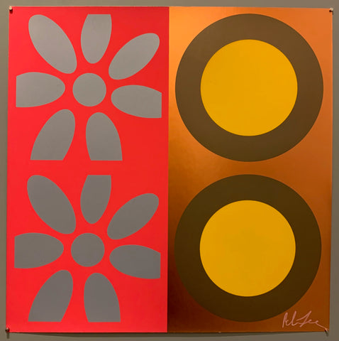 A square of four large motifs on paper. The colors are red with grey flowers, the other is a metallic bronze with brown and yellow targets.