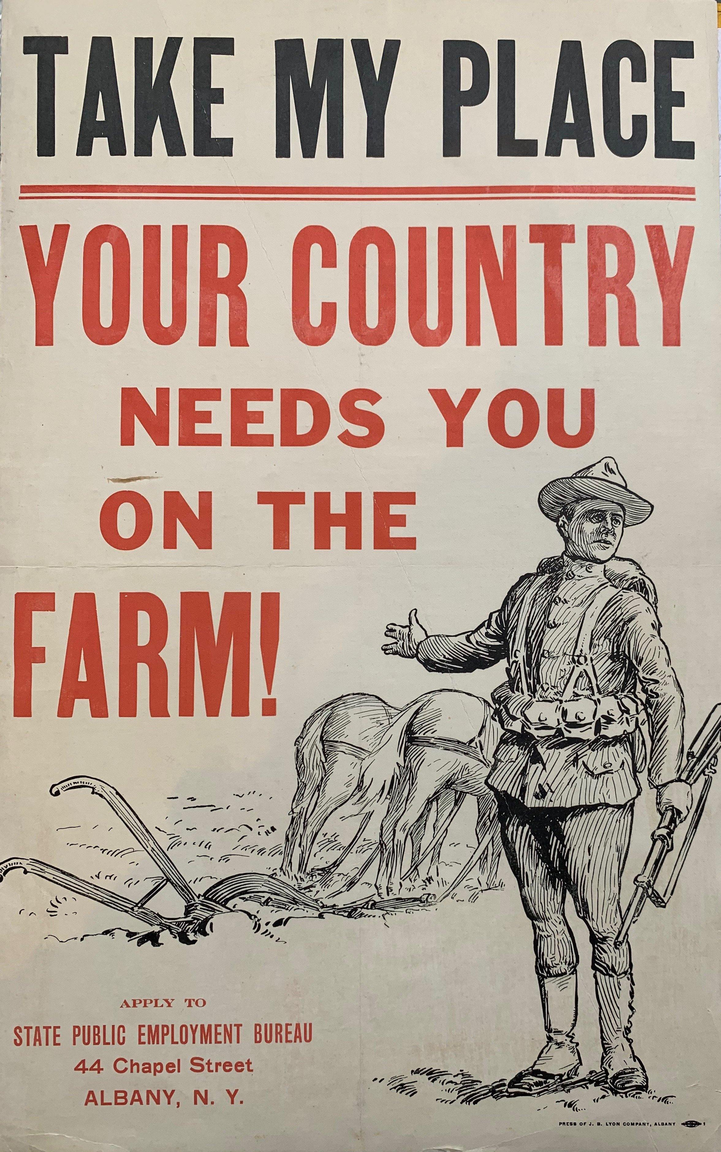Take My Place, your Country Needs you on the Farm! - Poster Museum