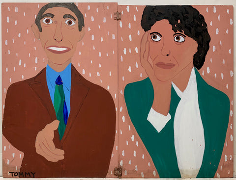 A Tommy Cheng portrait of a man in a brown suit reaching out to shake someone's hand and a woman in a green suit.