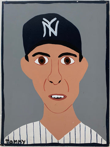 A Tommy Cheng portrait of Tino Martinez in a New York Yankees baseball hat and uniform.