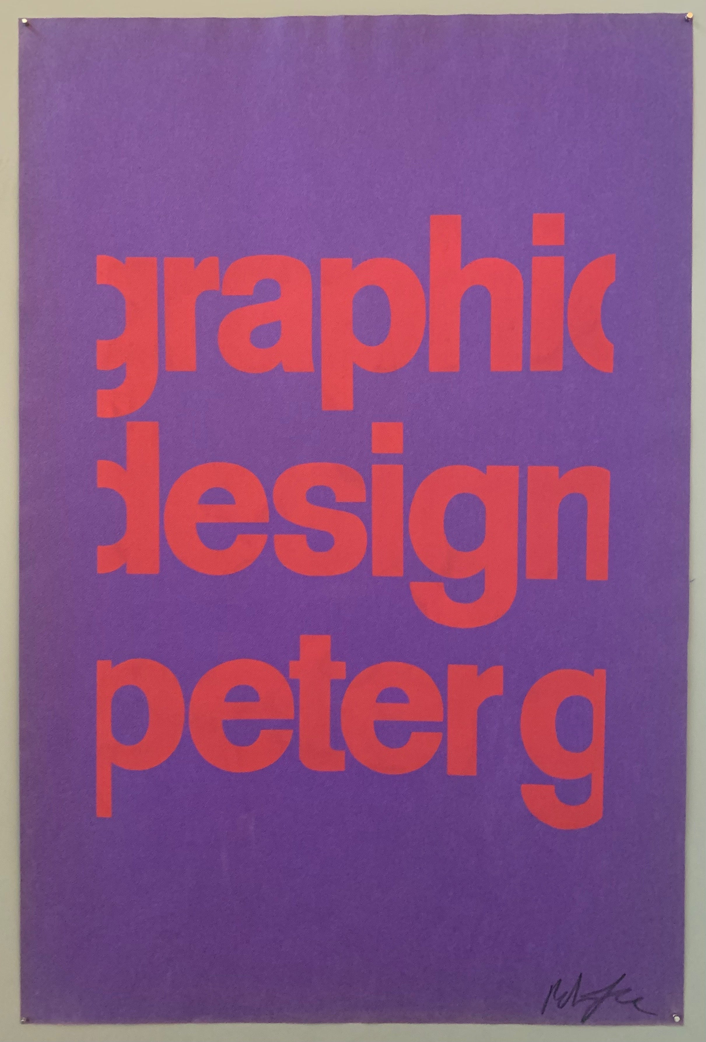 Purple poster with pink font saying graphic design peter g